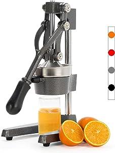 CO-Z Commercial Grade Citrus Juicer Professional Hand Press Manual Fruit Juicer Orange Juice Squeezer for Lemon Lime Pomegranate (Gray Cast Iron/Stainless Steel)
