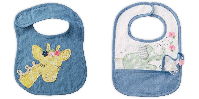 Sweet Yellow Giraffe and Green Elephant Baby Toddler Cloth Bibs Set of 2