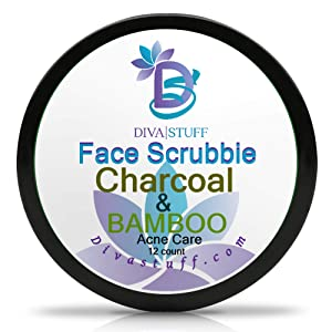 Diva Stuff Face Scrubbie Charcoal & Bamboo, Exfoliating Face Pads for Acne, Blackheads & Whiteheads, Clears Pores & Controls Sebum, Activated Charcoal, Bamboo Oil, Sulfur Powder, Tea Tree