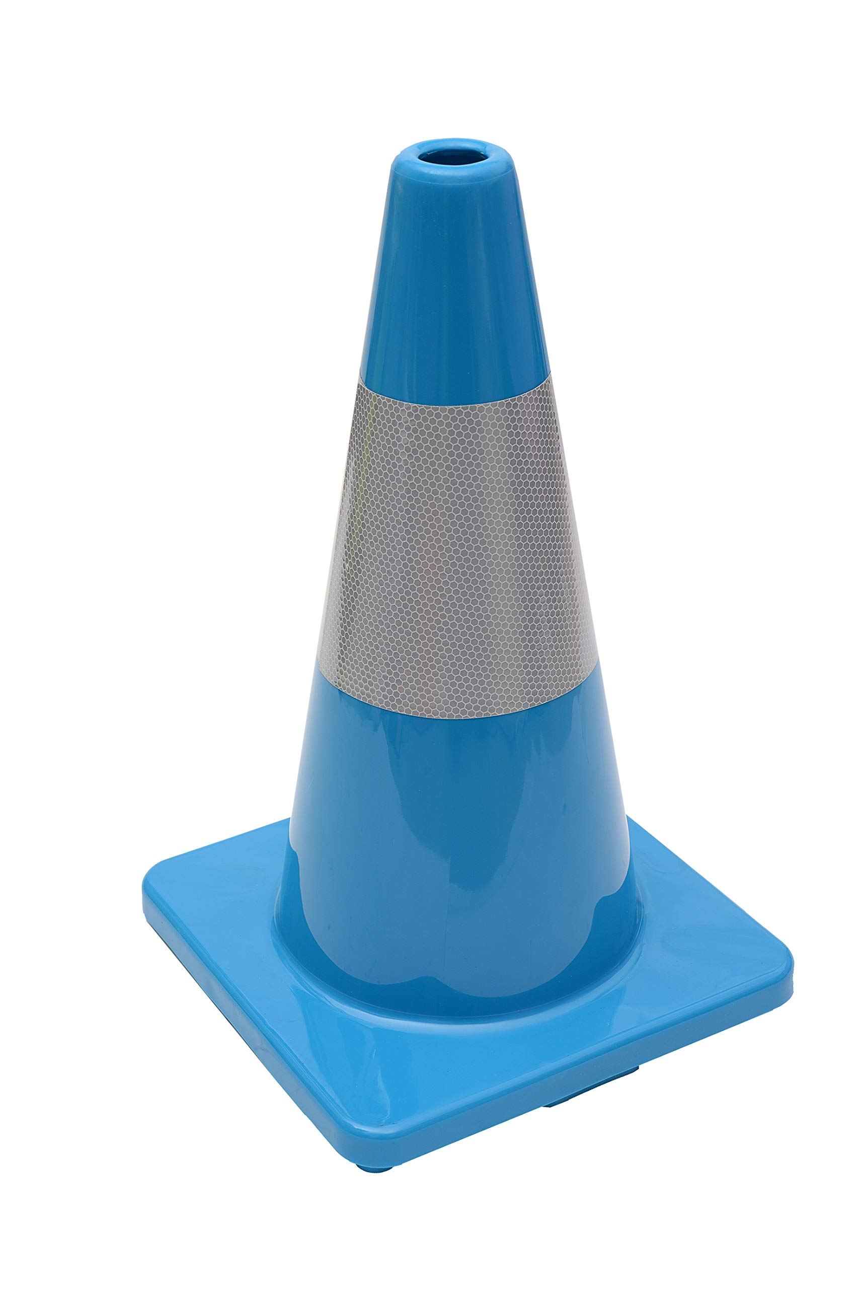 (Set of 12) CJ Safety 18'' Blue PVC Traffic Safety Cones with 6' Reflective Collar (12 Cones)
