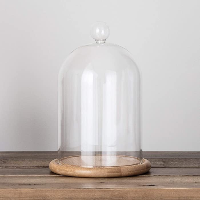 """Glass Cloche Bell Jar Display Dome with Bamboo Base - 9"""" x 6"""""""