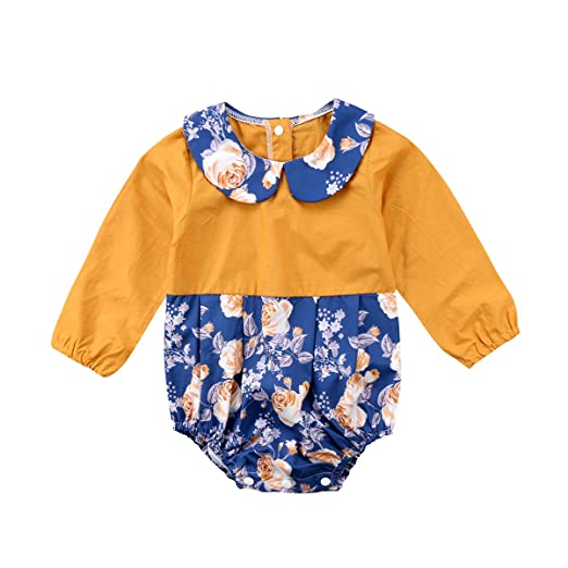 f59d0d39907 Bowant Newborn Infant Baby Girls Romper Floral Spliced Elastic Jumpsuit  Casual Clothing (6-12