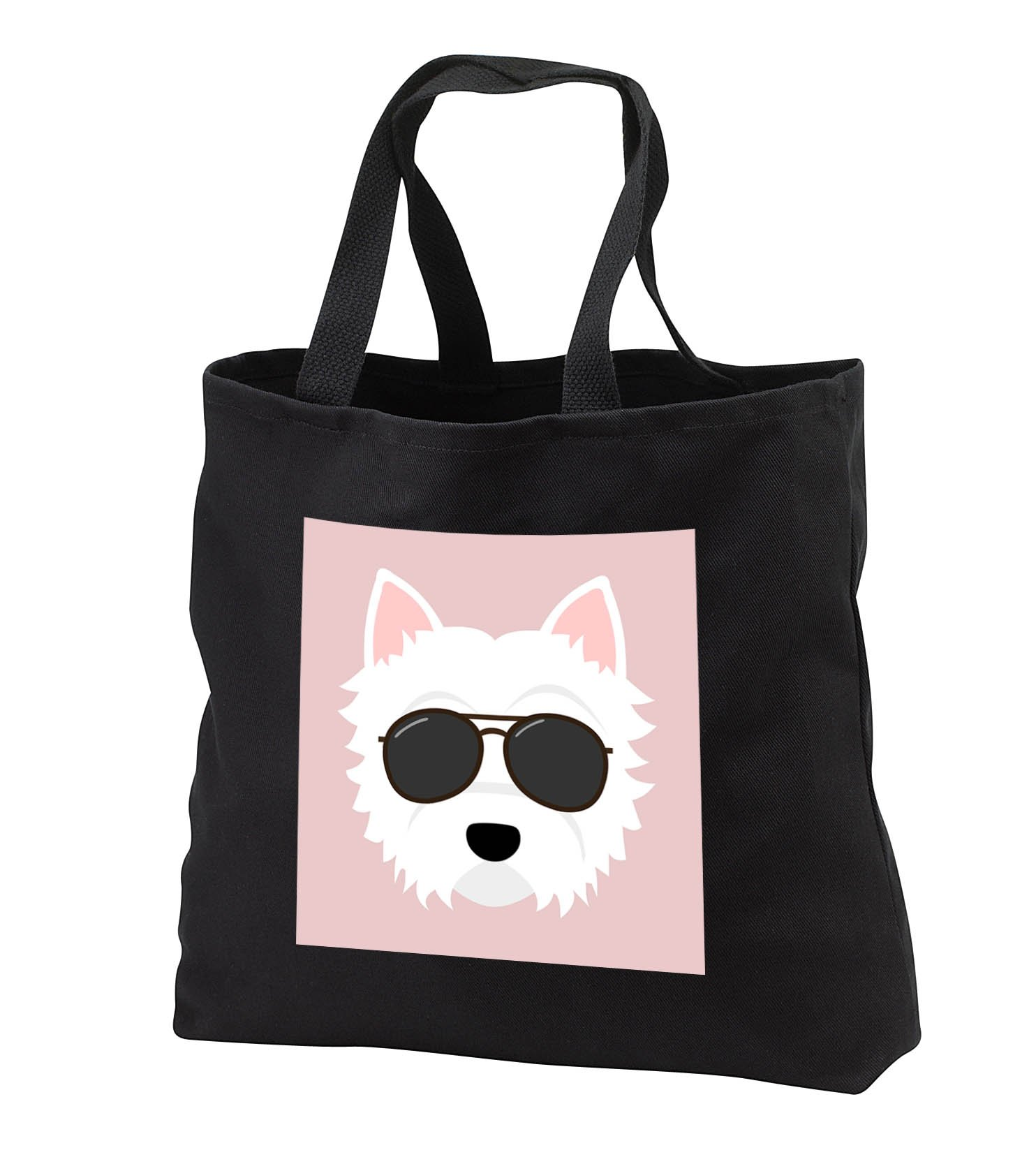 Janna Salak Designs Dogs - Cool Westie Dog with Glasses West Highland Terrier - Tote Bags - Black Tote Bag 14w x 14h x 3d (tb_283575_1)