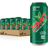 Zevia Ginger Ale, Zero Calories or Sugar, Naturally Sweetened, Carbonated Soda, Refreshing, Flavorful and Tasty, 16 Fl Oz Can Each, Pack of 12