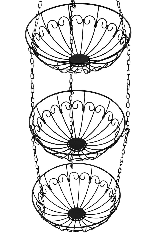 Chefarone Hanging Fruit Basket and Vegetable Basket - 3 Tier Hanging Storage Rack (Black)