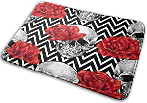 Skull Head with Red Rose Bath Mat Polyester Front Door Mat Bathroom Rugs Carpet for Inside Outdoor 15.7 X 23.5 in