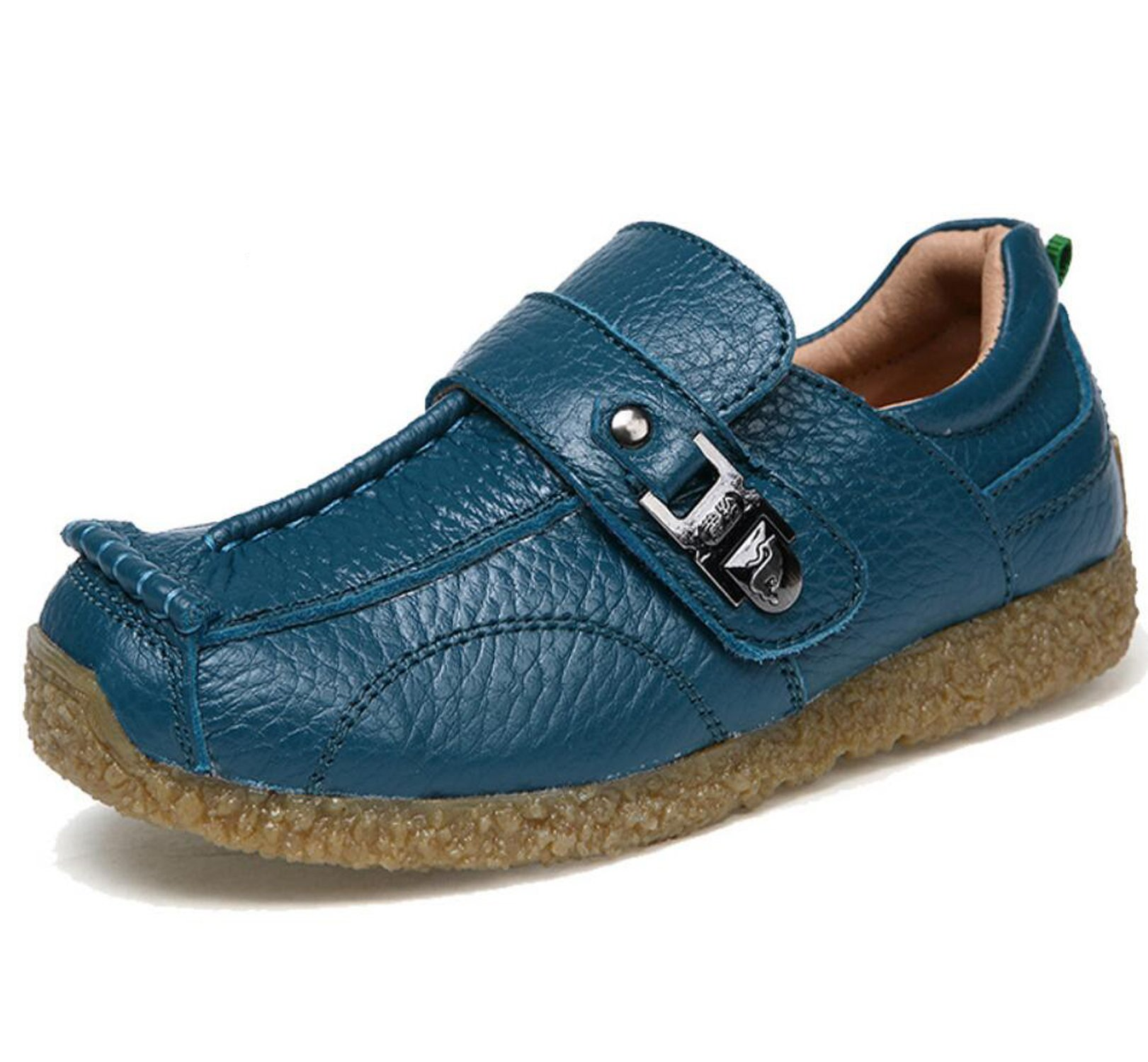 Otamise Boys Genuine Leather Loafers Slip On Boat Shoes Casual Flats School Shoes (Toddler/Little Kid/Big Kid) Blue US 13M