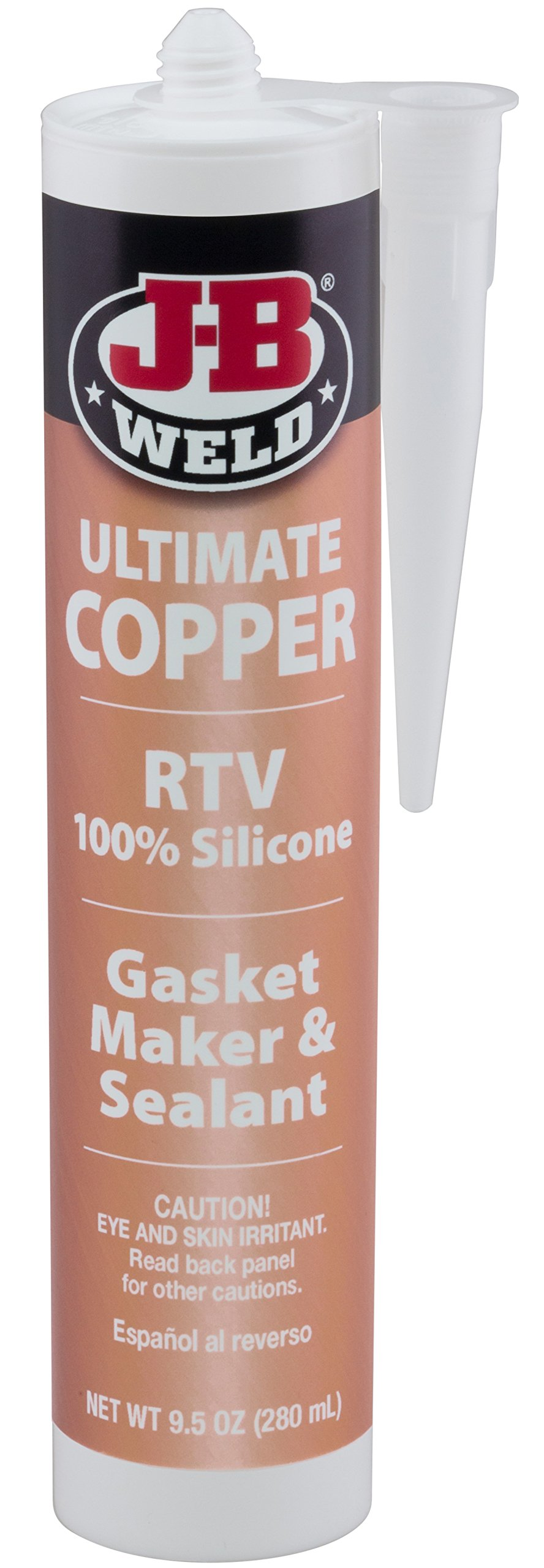 J-B Weld 32925 Ultimate Copper High Temperature RTV Silicone Gasket Maker and Sealant - 9.5 oz.