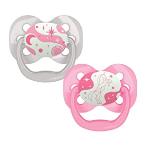 Dr. Brown's Advantage Glow-in-The-Dark 2 Piece Stage 1 Pacifiers, Pink, 0-6 Months