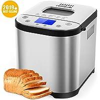 Homever Machine à Pain, 15 programmes Machine a Pain avec Départ différé Jusqu'à 15H, Maintien au chaud 1H & 3 Degré de brunissement réglable, 3 Tailles de pain