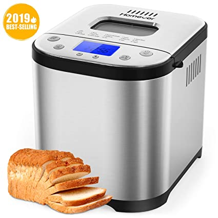 Homever Bread Maker [2019 Upgraded] - Automatic 2LB Bread Machine with  Sugar Free Setting, Fully Stainless Stee Bread Maker (15 Programs, 3 Sizes  & 3