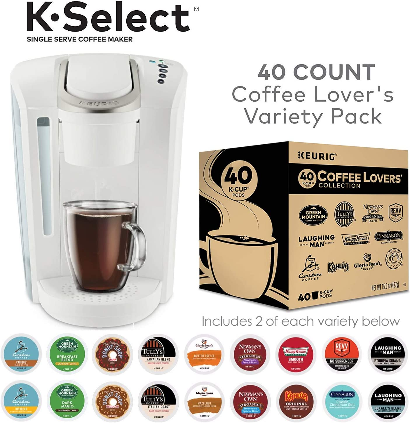 Keurig K-Select, White and K-cup Coffee Lovers Variety Pack, 40 ct