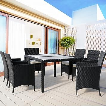 13 pièces - Salon de jardin en rotin et aluminium léger avec chaises ...