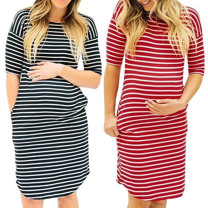 Gusspower 2018 Verano Mujer Casual Vestidos, Cóctel Fiesta Diario Playa Vestir, Moda Mujer Embarazada O-cuello Raya Manga Corta Enfermería Maternidad ...