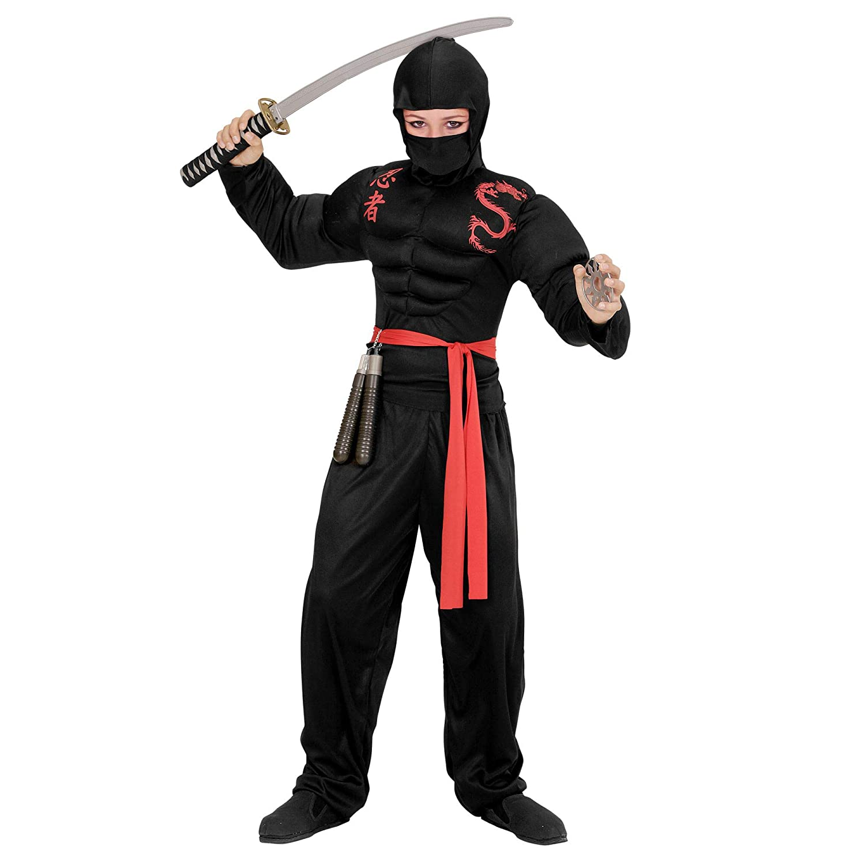 WIDMANN 00528 ? Disfraz para niños muskulöser Ninja, steelysports, pasamontañas, pantalones y cinturón, Negro