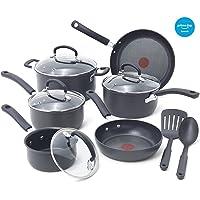 T-fal E918SE Set de utensilios de cocina, 14 piezas anodizado duro antiadherente, apto para lavavajillas, apto para horno, negro