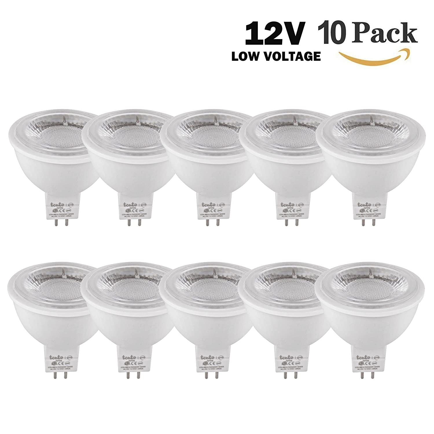 LED Mr16 Bulbs 12 Volt Pack of 10 Pieces COB 5w LED 50 Watts Equivalent Daylight White 6000k