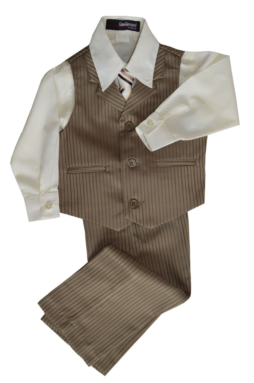 G280 Pinstripe Boys Formal Dresswear Vest Set (8, Natural)