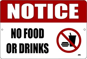 Warning No Food or Drinks Metal Tin Sign Business Retail Store Home Large Restaurant Bar Office Hotel
