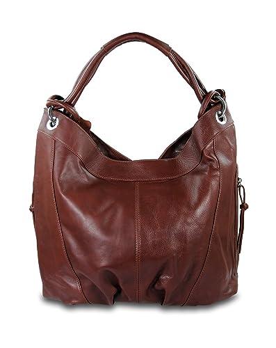 d33a86db053f8 IO.IO.MIO ital. Damen Handtasche XL Shopper Schultertasche Ledertasche  Frauen Handtaschen Beuteltasche Tasche Lederhandtasche echt Nappa Leder  braun