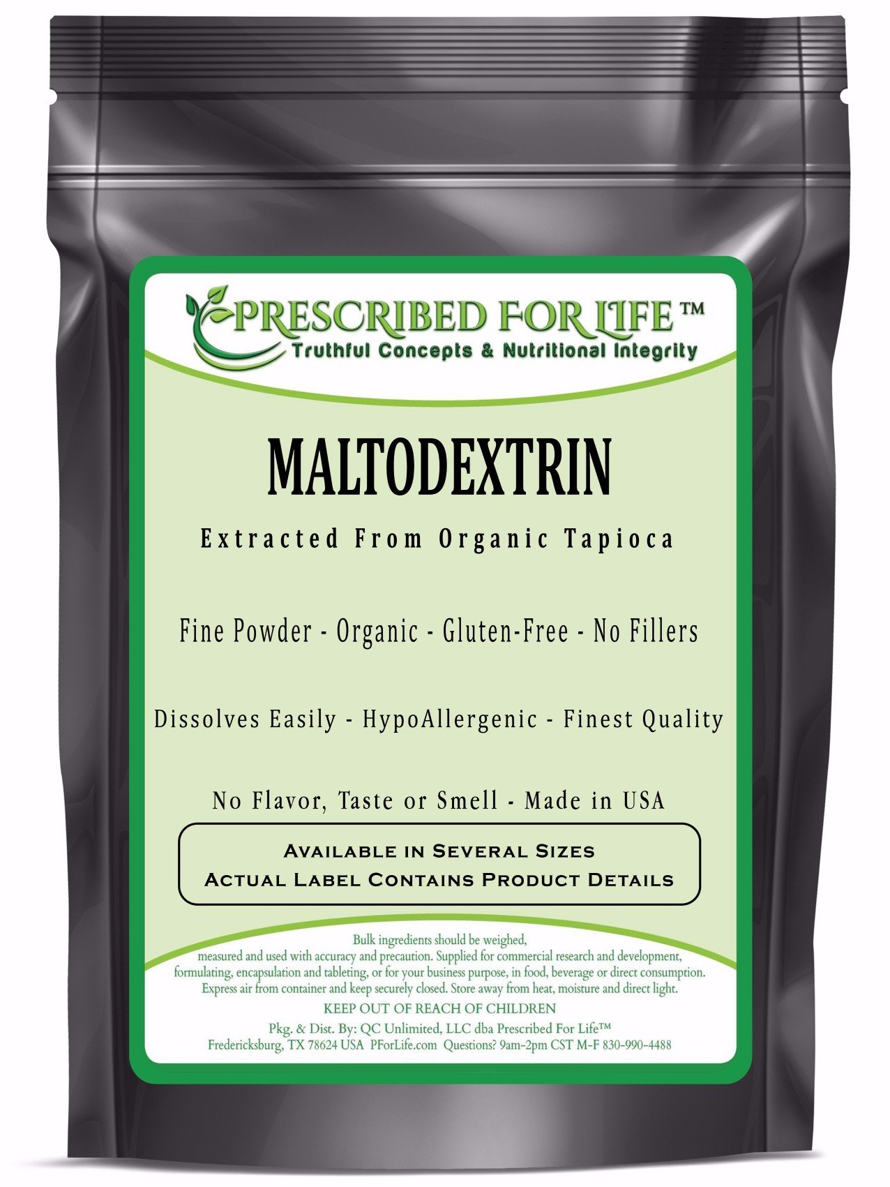 Maltodextrin - Pure Tapioca Quick Dissolving Natural Starch - ING: Organic Powder, 10 kg by Prescribed For Life (Image #1)
