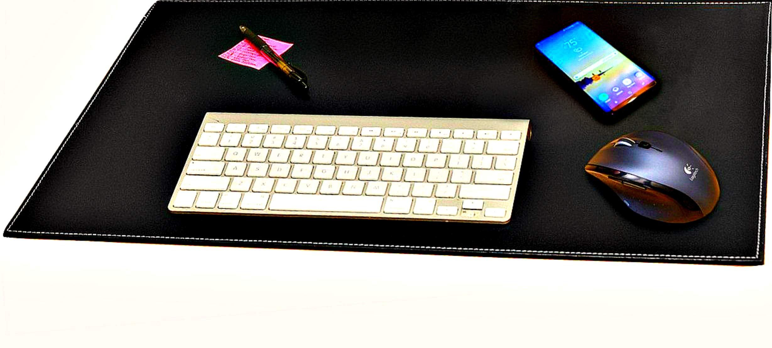 Computer Leather Desk Pad, Stylish Mat Cover, Reversible Color Design Black to White, (16 x 24 Inches)
