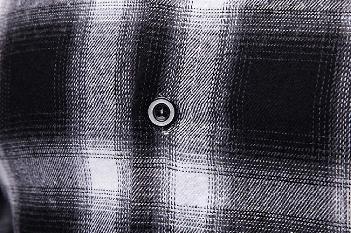 Fubotevic Mens Slim Casual Plaid Print Button Front Classic Long Sleeve Shirt