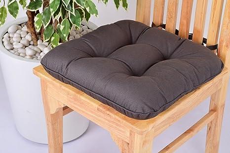 Comfort Beddings Lushness Linen - Cojín para Silla de Comedor, Cocina, Oficina, 100% algodón, con Lazos, Color Crema, algodón, Gris, 40 x 40 cm
