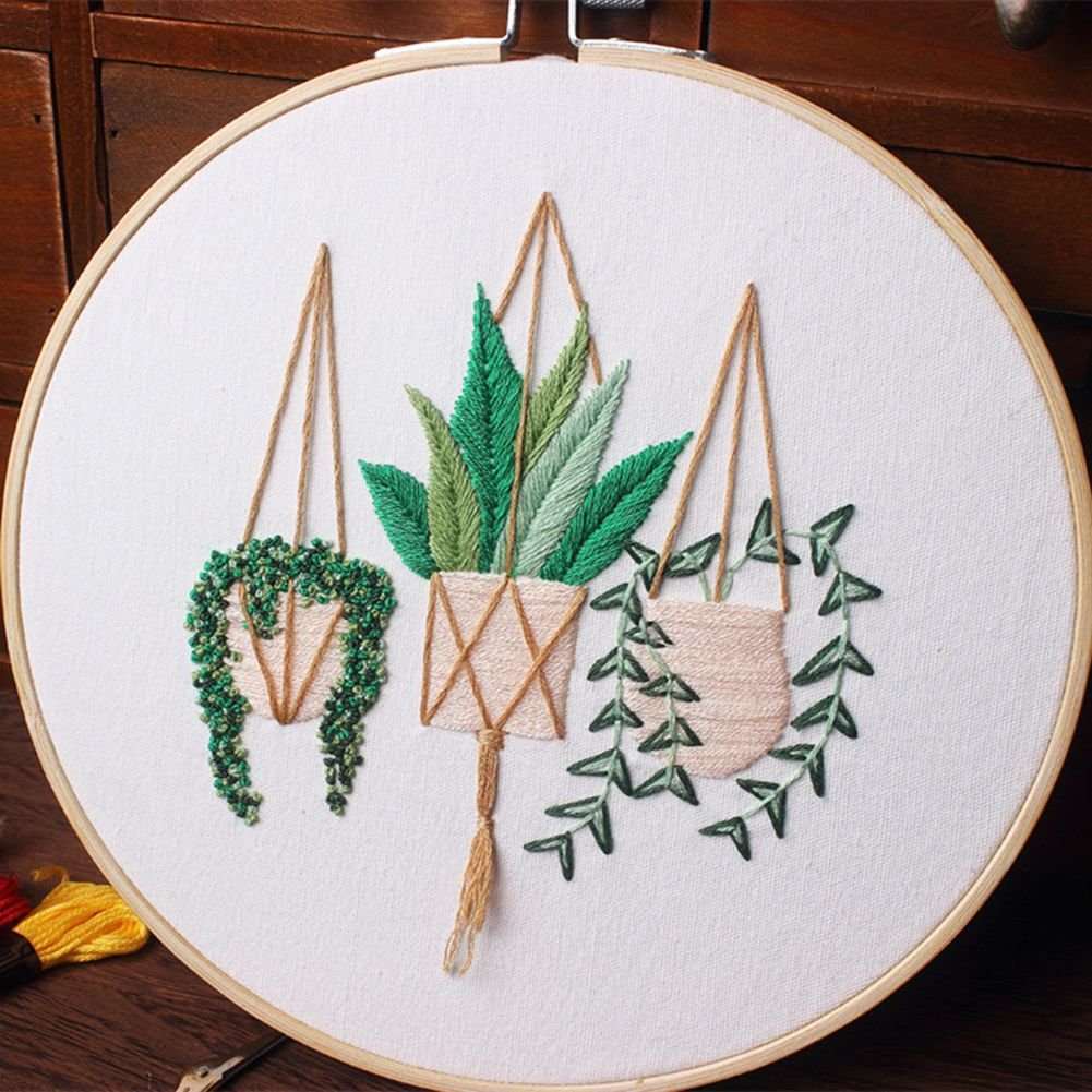 ESHOO Full Range of Embroidery Starter Kit with Flower Pattern Including Embroidery Hoops and Color Threads Cross Stitch Tool Kit for Beginners