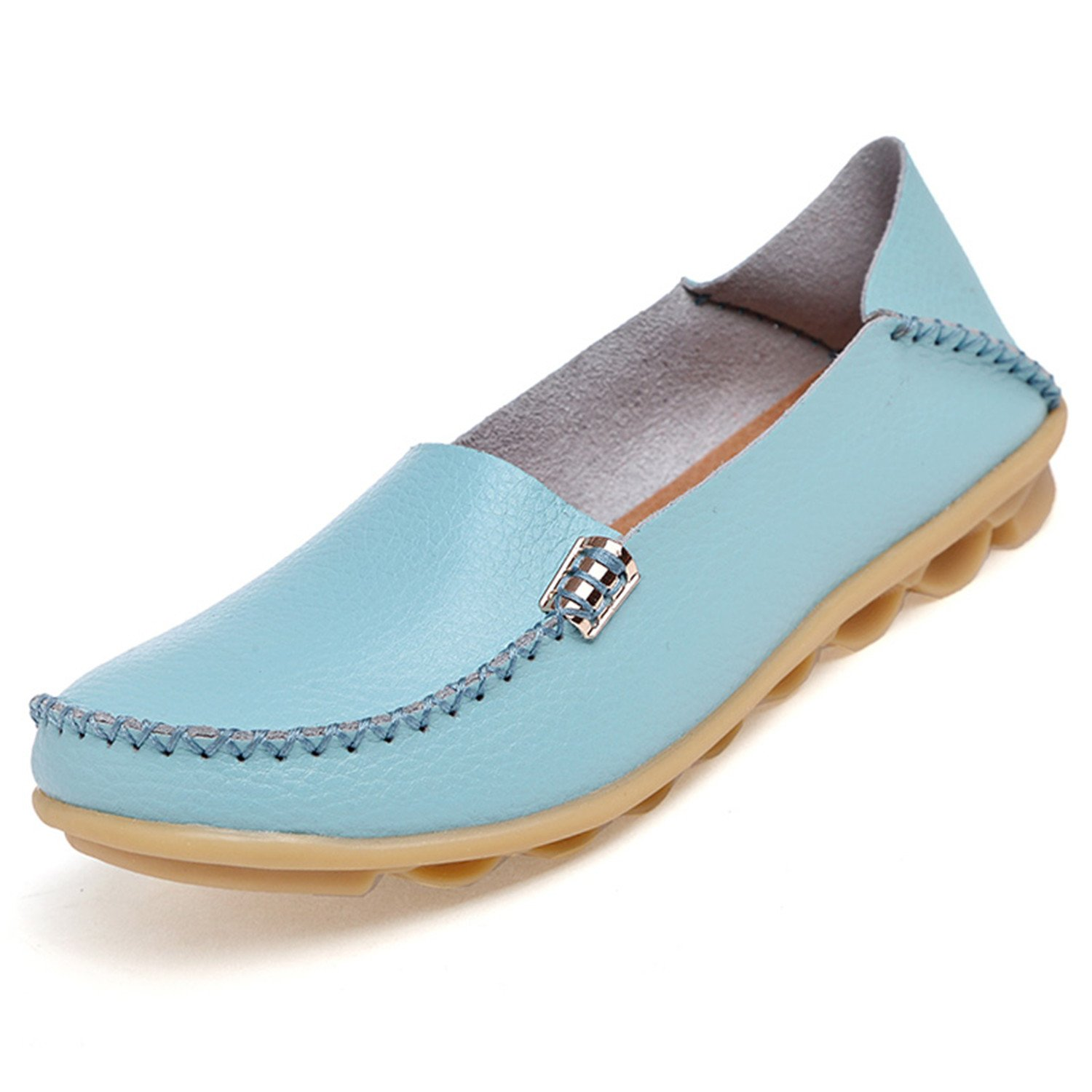Beststore VAO Summer Candy Colors Genuine Leather Women Casual Shoes New Fashion Breathable Slip-On Peas Massage Flat Shoes Plus Size 35-44 B078FRTPBJ 6 B(M) US|Light Blue