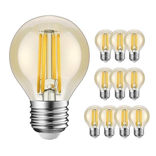 Bombillas LED E27 G45 equivalentes a 40 W, Retro Vintage ámbar pelota de golf,