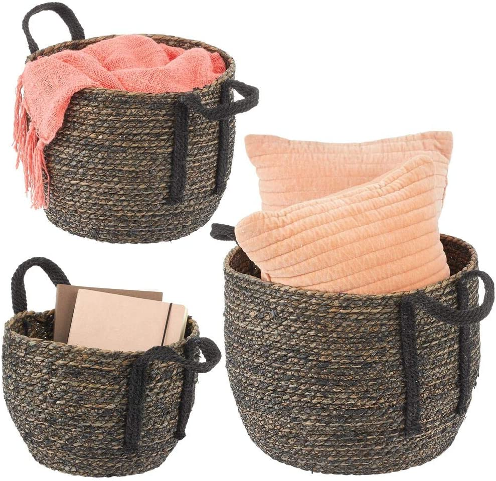 mDesign Round Woven Braided Rope Seagrass Home Storage Baskets, Jute Handles - for Organizing Closet, Bedroom, Bathroom, Living Room, Entryway, Office - Bins in Different Sizes - Set of 3 - Black Wash