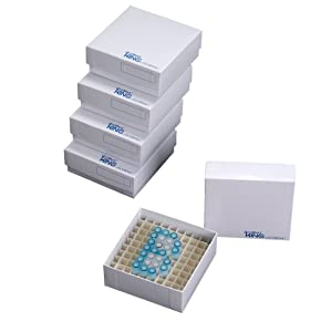 "Biologix 90-1281 Cardboard Microcentrifuge Tube Freezer Storage Box, 2"" Height, 81 Places (Case of 100)"