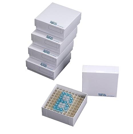 Biologix 90-1281 - Caja de almacenamiento para tubos de microcentrifugación de cartón, 2 cm de altura, 81 lugares (caja de 100): Amazon.es: Industria, empresas y ciencia