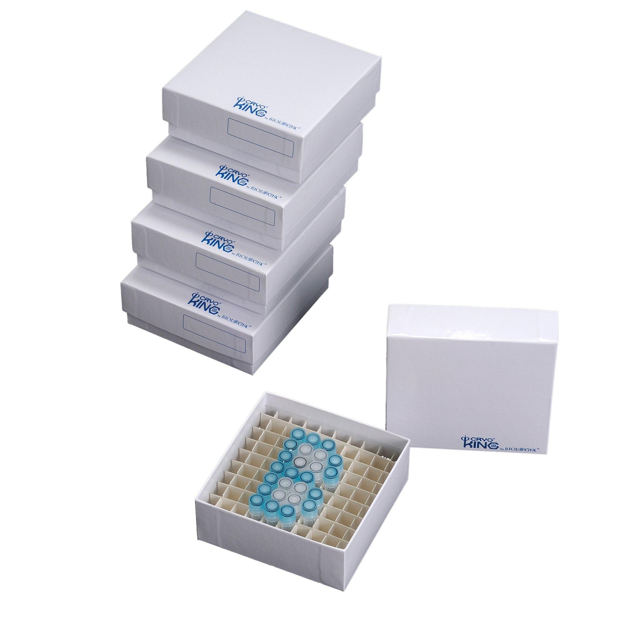 Biologix 90-1281 Cardboard Microcentrifuge Tube Freezer Storage Box, 2'' Height, 81 Places (Case of 100)