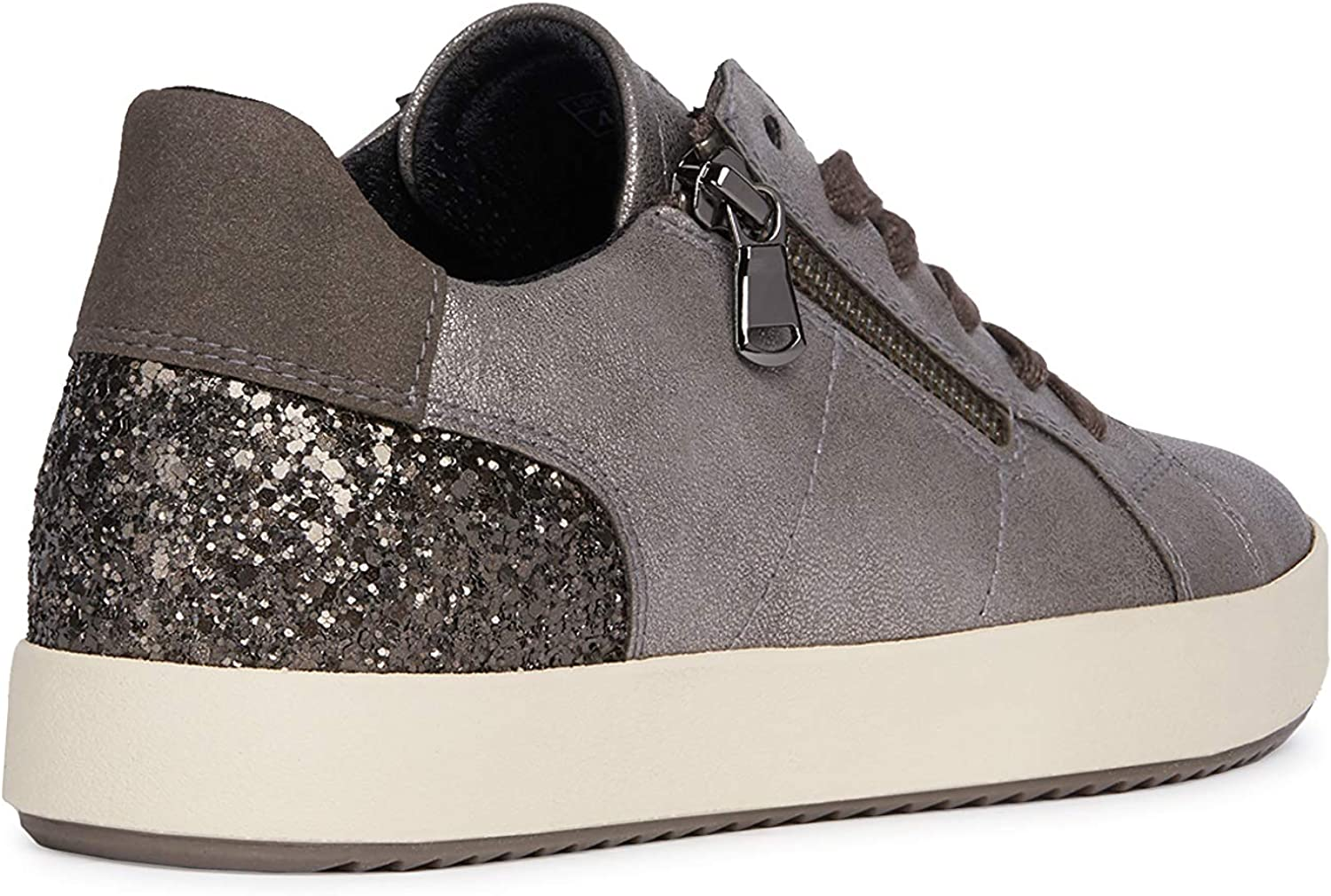 Geox Women's Blomiee 13 Glitter & Metallic Sneaker with Zip, L.BR, d.BRW/Leatherbrown D.brw/Leatherbrown