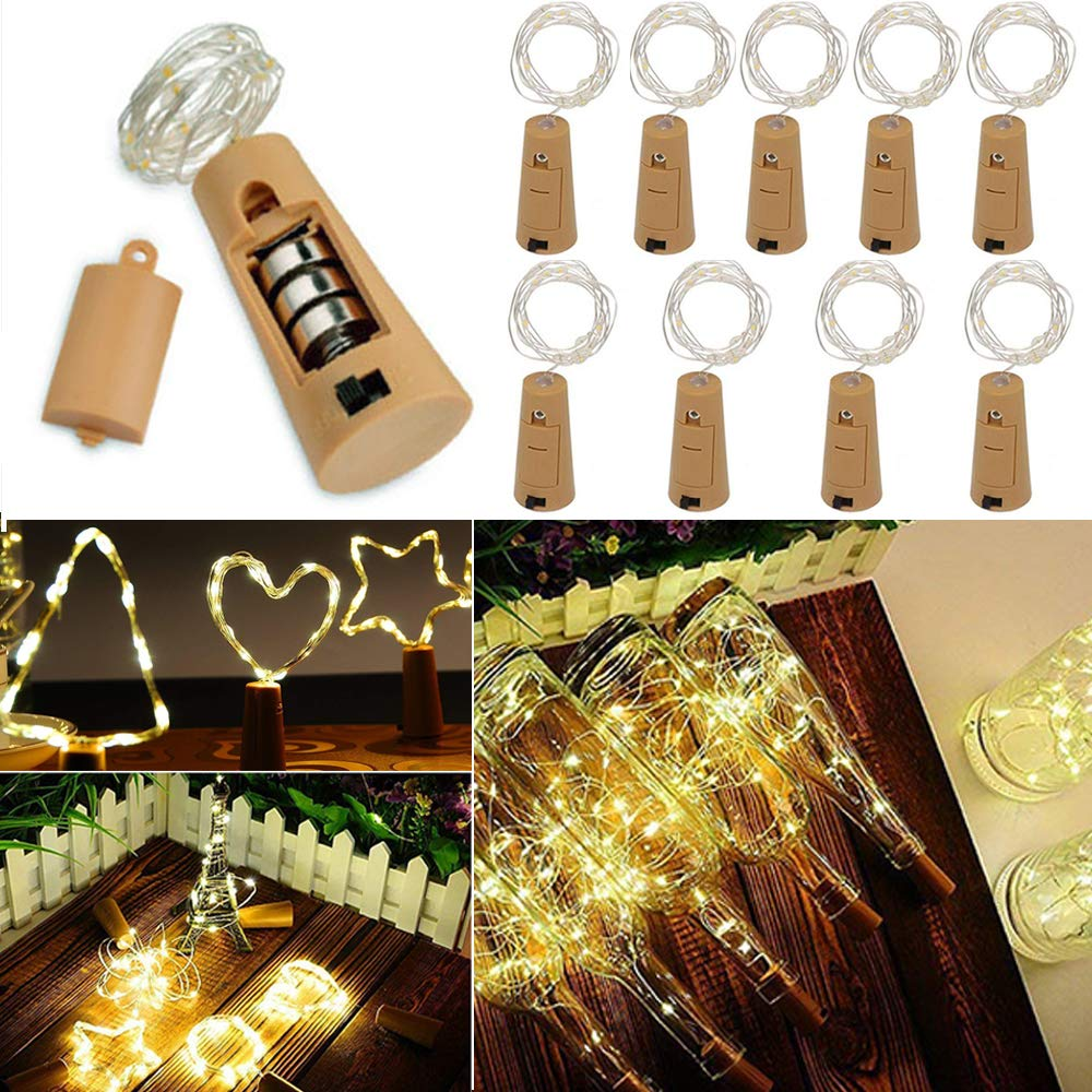 VIPMOON 10 Pack 20 LED Bottle Cork String Lights Wine Bottle Fairy Mini Copper Wire, Battery Operated Starry Lights for DIY Christmas Halloween Wedding Party Indoor Outdoor Decoration - Warm White