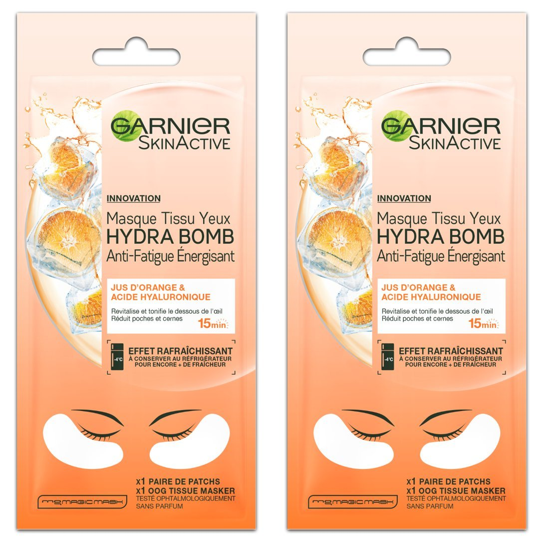Garnier Skinactive máscara tejido ojos hydrabomb antifatiga Energisant 6G–Lote de 2 C6061400