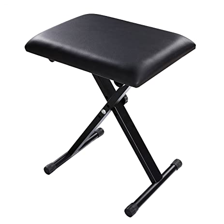 FDegage X Style Adjustable Folding Stool Chair Leather Padded Lifting Piano  Keyboard Throne (Black