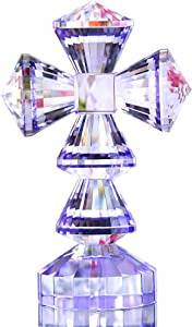 Crystal Cross Standing Traditional Cross On Base Purple 6 x 3.7 inches Glass Tabletop Figurine