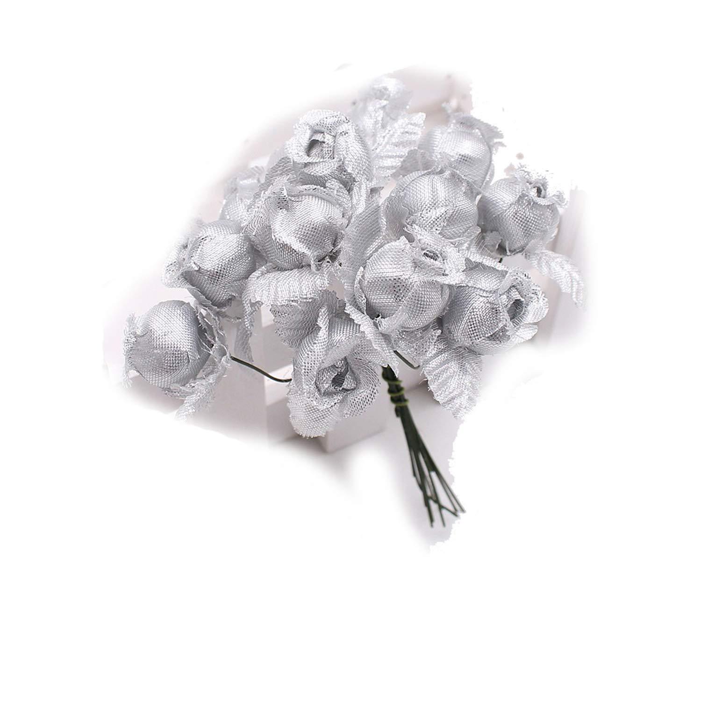 シルク造花 ミニローズブーケ 12本セット 結婚式 ホームデコレーション クラフトカード ギフト DIYリース スクラップブック シルバー NA B07PPZ686S シルバー(Silver)
