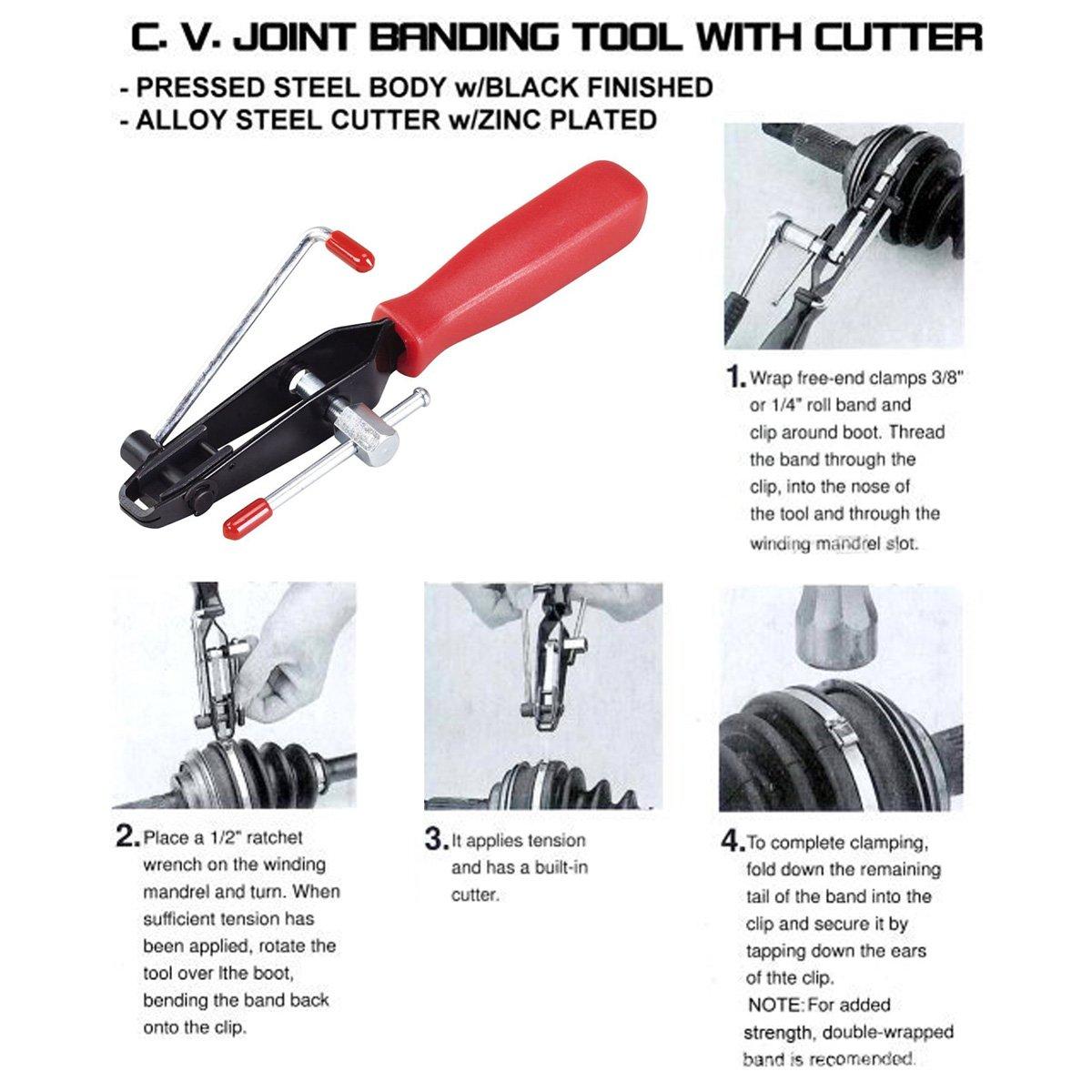 Qbace 2pcs Auto Cv Joint Boot Clamps Pliers Car Banding Tools Kit Set by QBace (Image #4)