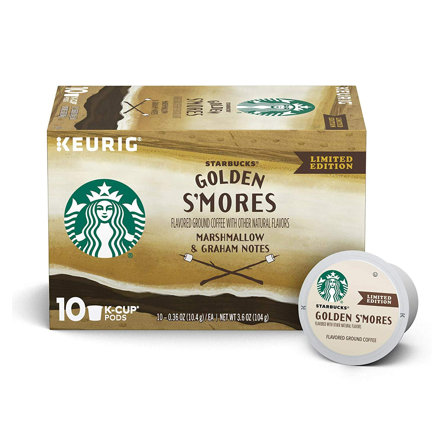 Starbucks Golden S'mores Flavored Blonde Roast Single Cup Coffee for Keurig Brewers, 3.6-oz. boxes of 10