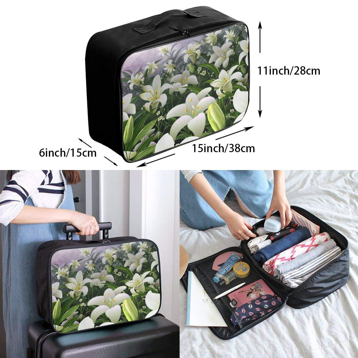Travel Luggage Duffle Bag Lightweight Portable Handbag Lily Flowers Print Large Capacity Waterproof Foldable Storage Tote