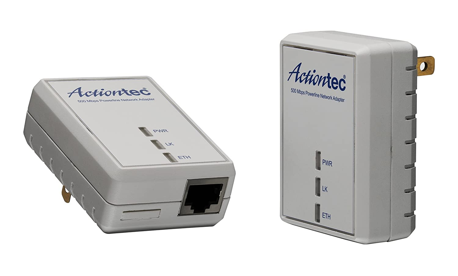 Actiontec Pwr511k01 500 Mbps Homeplug Hd Powerline Wall Broadband Modem Plug Network Adapter Kit 2 Units Computers Accessories