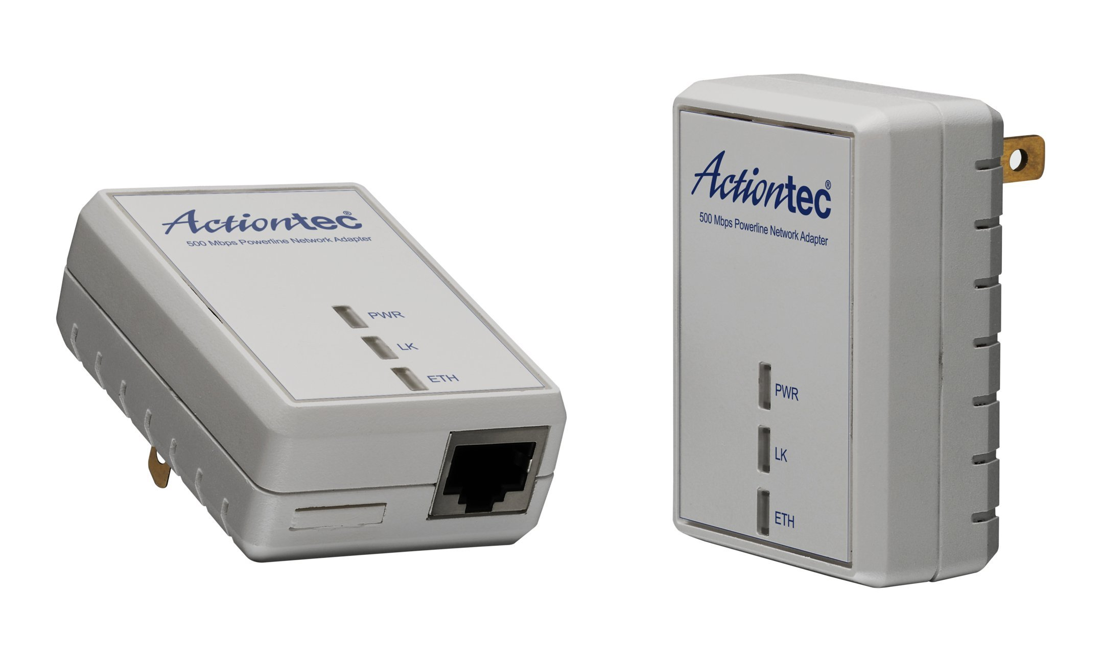 Actiontec PWR511K01 500 Mbps HomePlug HD Powerline Wall Plug Network Adapter Kit (2 Units) by Actiontec