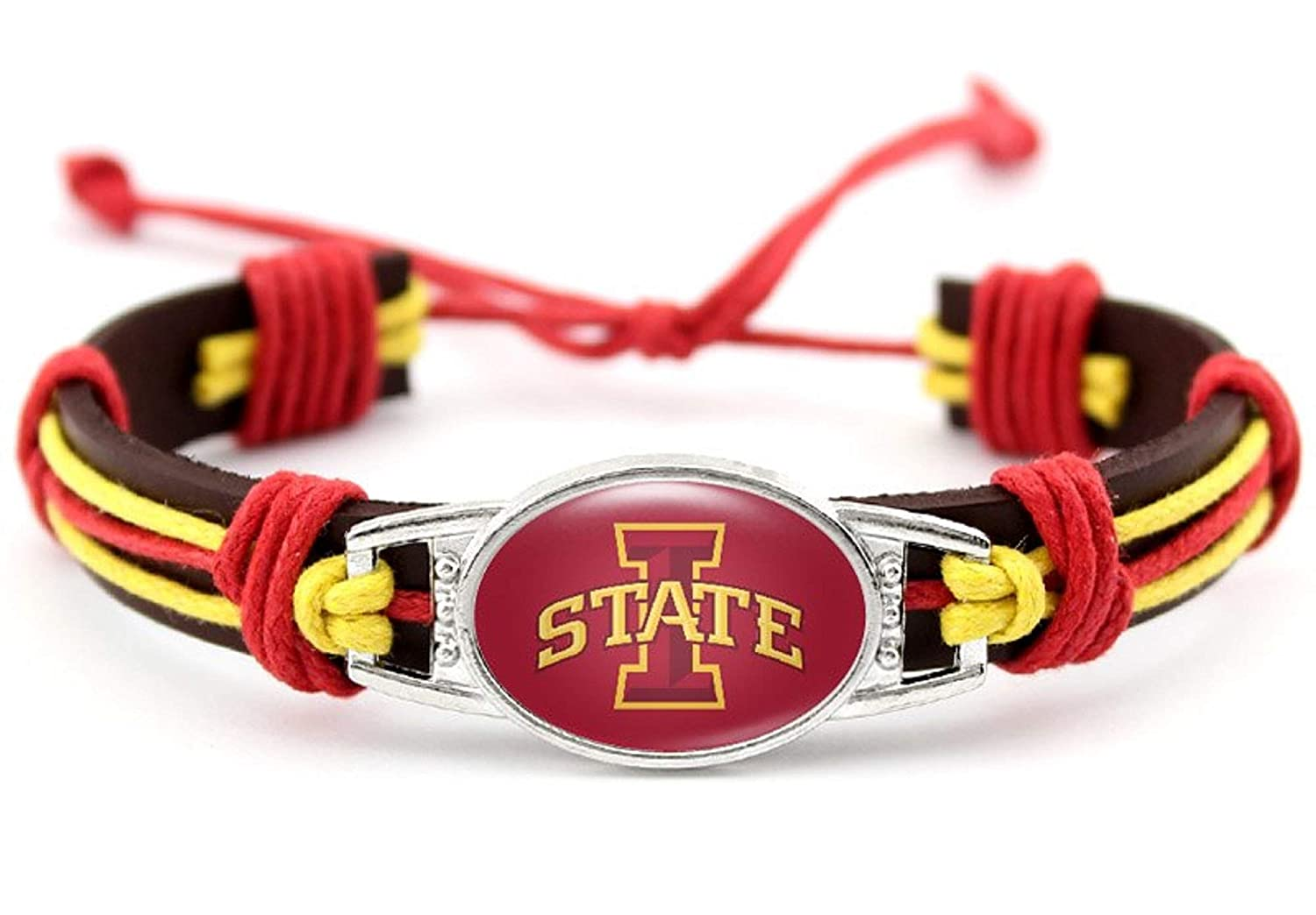 BAS Iowa State Cyclones Real Leather Adjustable Cord Tie 7 to 10