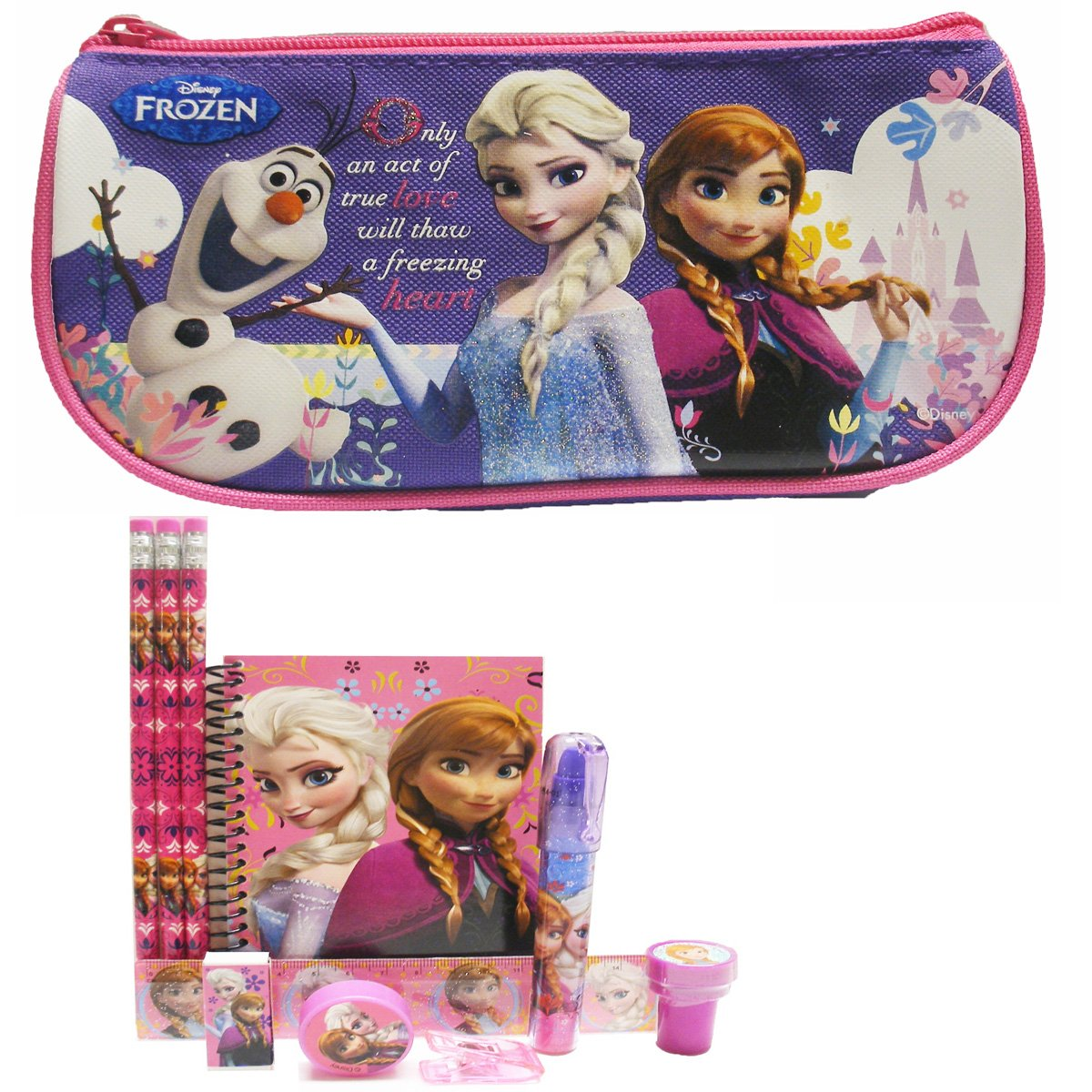 Disney Frozen Pencil Case/Cosmetic Bag with Stationery Set - Purple
