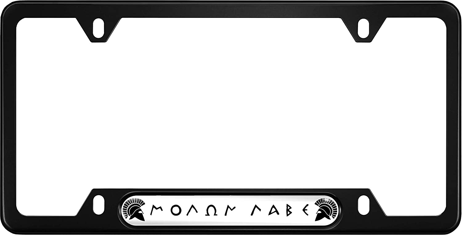 Molon Labe' Anodized Aluminum Thin Top | Narrow Top Car License Plate Frame with Free caps - Black