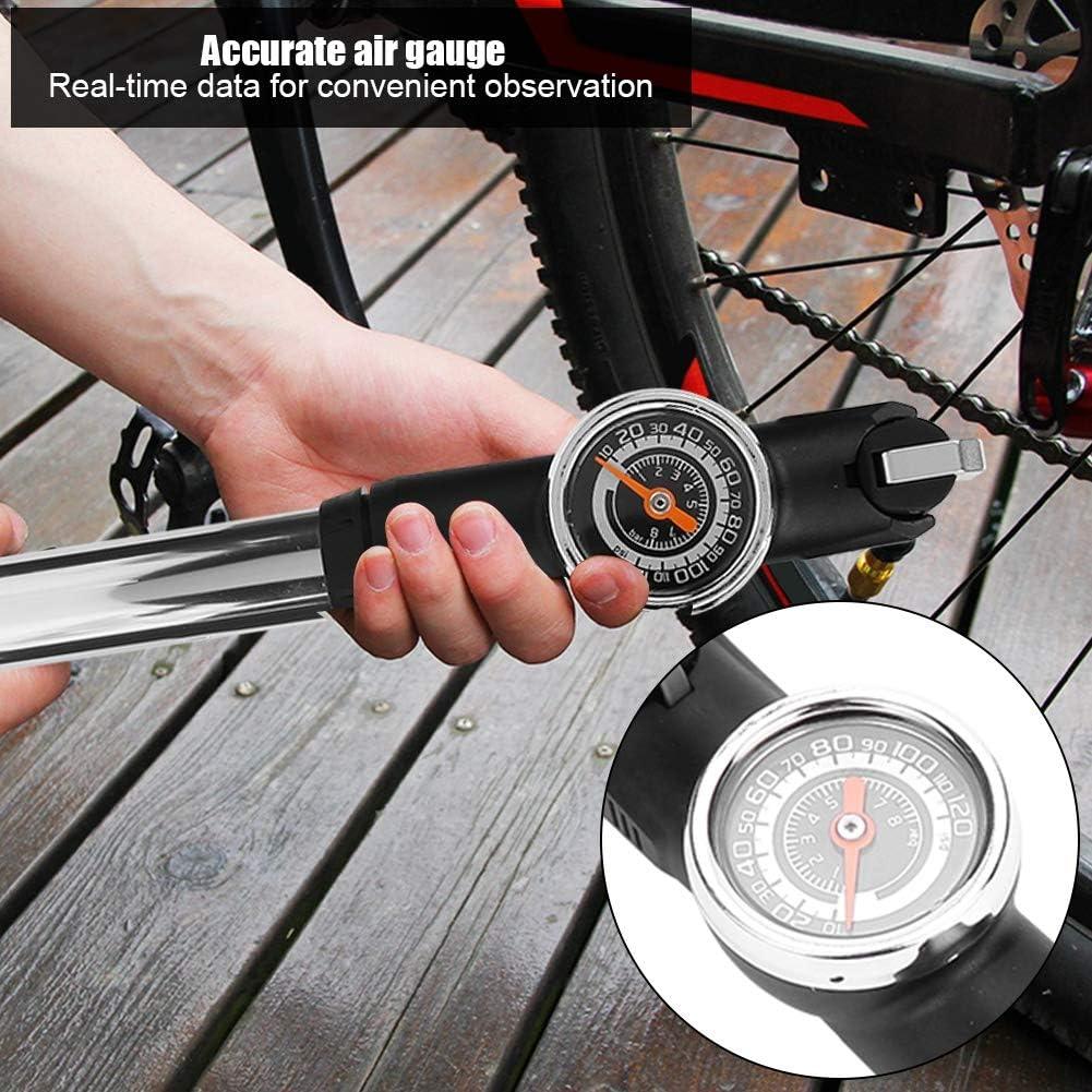 Dilwe Bomba de Aire Port/átil para Mini Bicicletas Neum/áticos con Man/ómetro y Kit de Montaje para Bicicletas de Monta/ña Bicicletas de Carretera